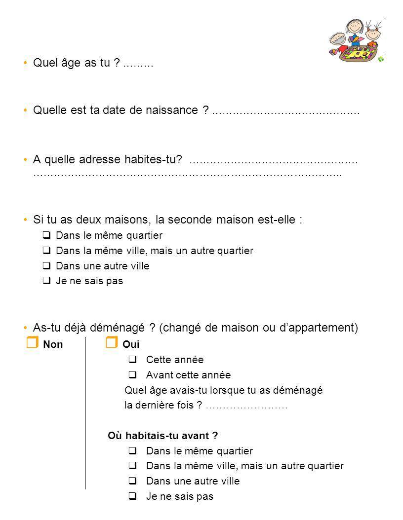 Quel âge as tu ? ……… Quelle est ta date de naissance ? ……………………………………. A quelle adresse habites-tu? …………………………………………. ……………………………………………………………………………..