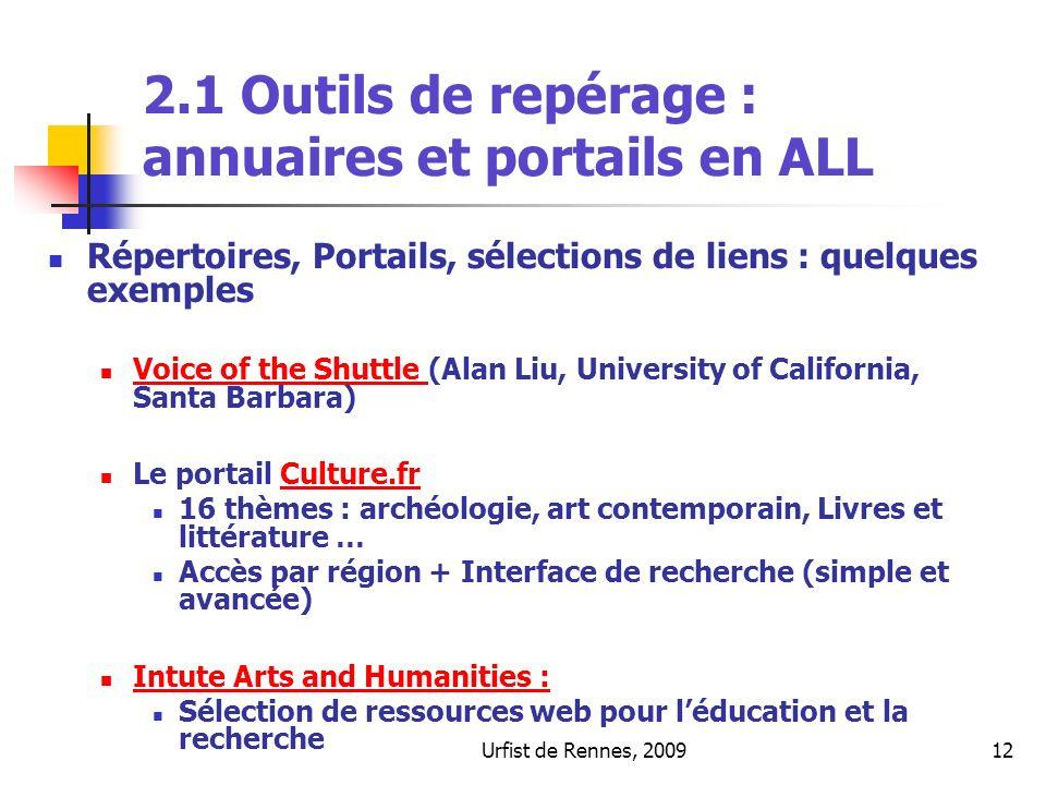 Urfist de Rennes, 200912 2.1 Outils de repérage : annuaires et portails en ALL Répertoires, Portails, sélections de liens : quelques exemples Voice of