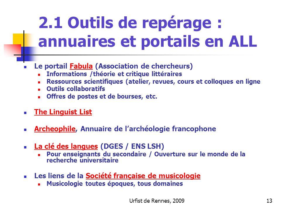 Urfist de Rennes, 200913 2.1 Outils de repérage : annuaires et portails en ALL Le portail Fabula (Association de chercheurs)Fabula Informations /théor