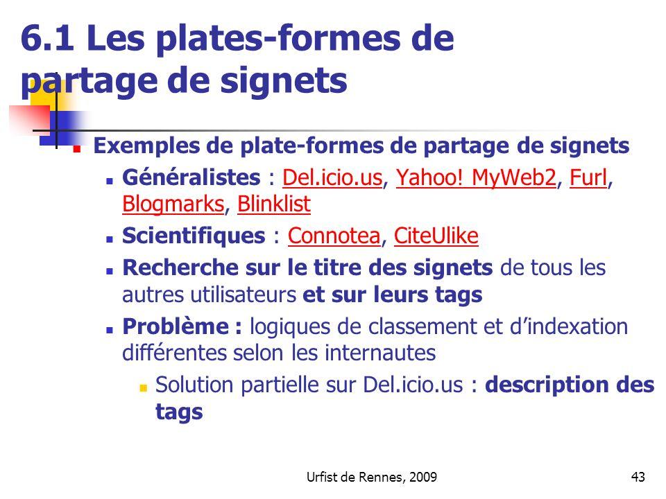 Urfist de Rennes, 200943 Exemples de plate-formes de partage de signets Généralistes : Del.icio.us, Yahoo! MyWeb2, Furl, Blogmarks, BlinklistDel.icio.