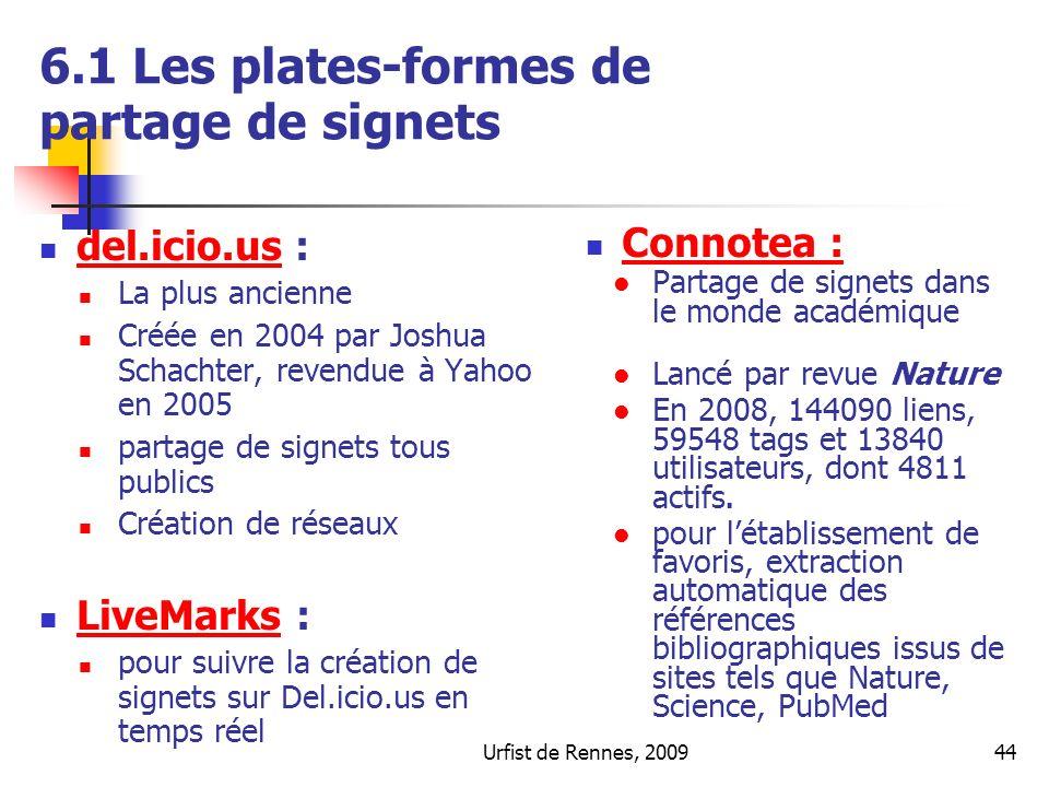 Urfist de Rennes, 200944 6.1 Les plates-formes de partage de signets del.icio.us : del.icio.us La plus ancienne Créée en 2004 par Joshua Schachter, re