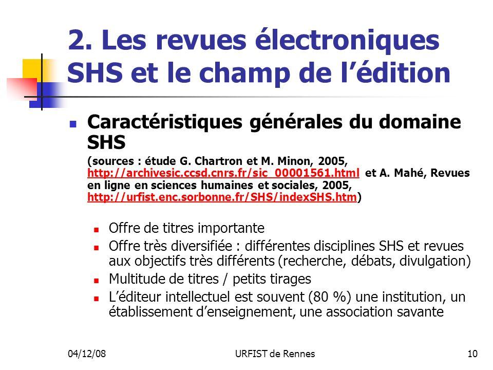 04/12/08URFIST de Rennes10 2. Les revues électroniques SHS et le champ de lédition Caractéristiques générales du domaine SHS (sources : étude G. Chart