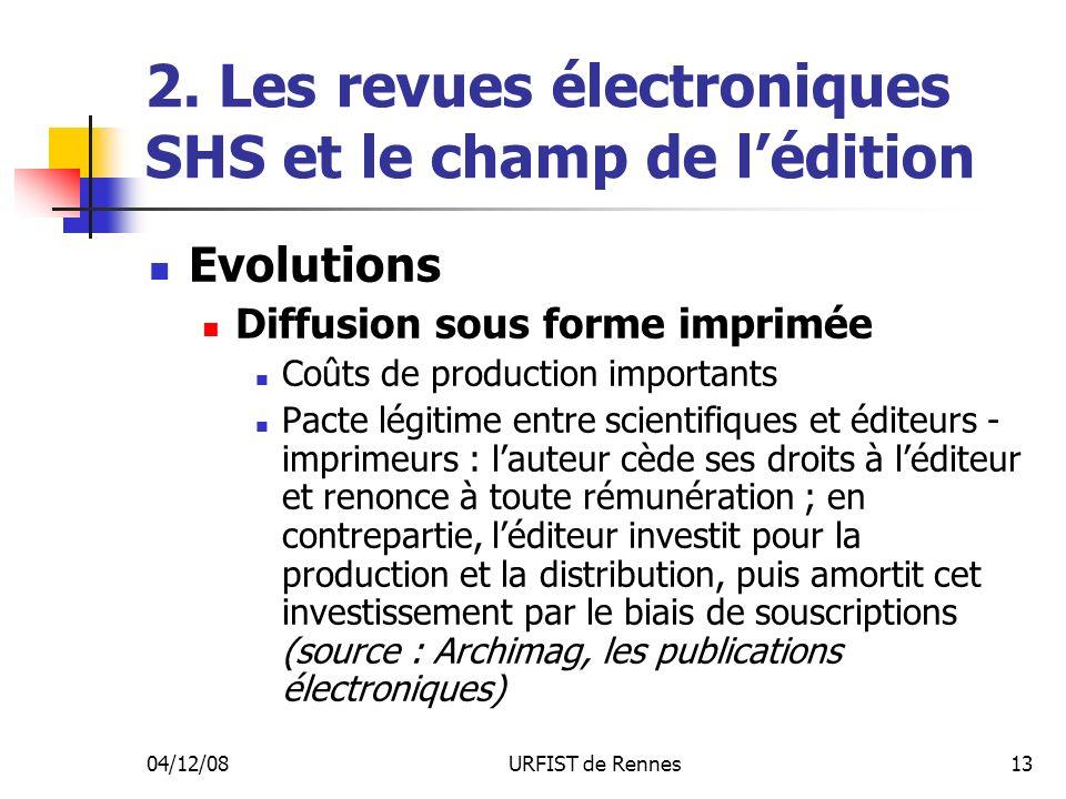 04/12/08URFIST de Rennes13 2. Les revues électroniques SHS et le champ de lédition Evolutions Diffusion sous forme imprimée Coûts de production import