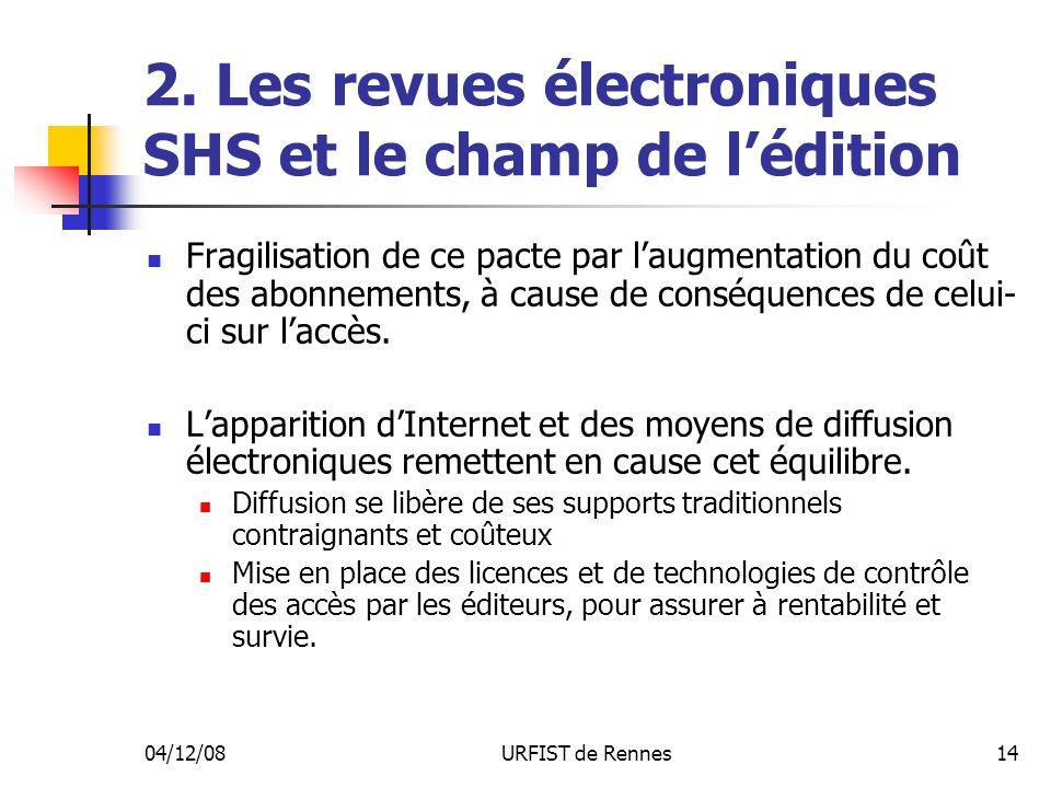 04/12/08URFIST de Rennes14 2. Les revues électroniques SHS et le champ de lédition Fragilisation de ce pacte par laugmentation du coût des abonnements