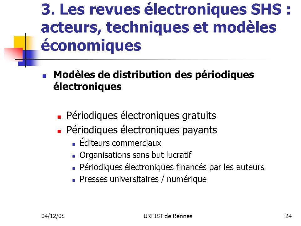 04/12/08URFIST de Rennes24 3. Les revues électroniques SHS : acteurs, techniques et modèles économiques Modèles de distribution des périodiques électr