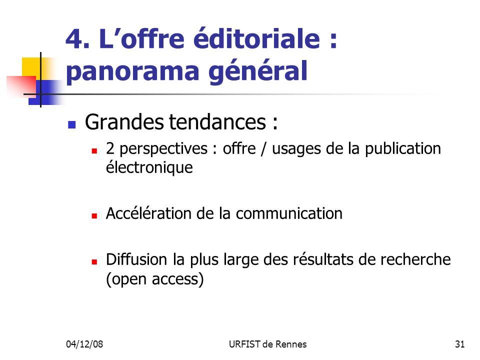 04/12/08URFIST de Rennes31 4. Loffre éditoriale : panorama général Grandes tendances : 2 perspectives : offre / usages de la publication électronique