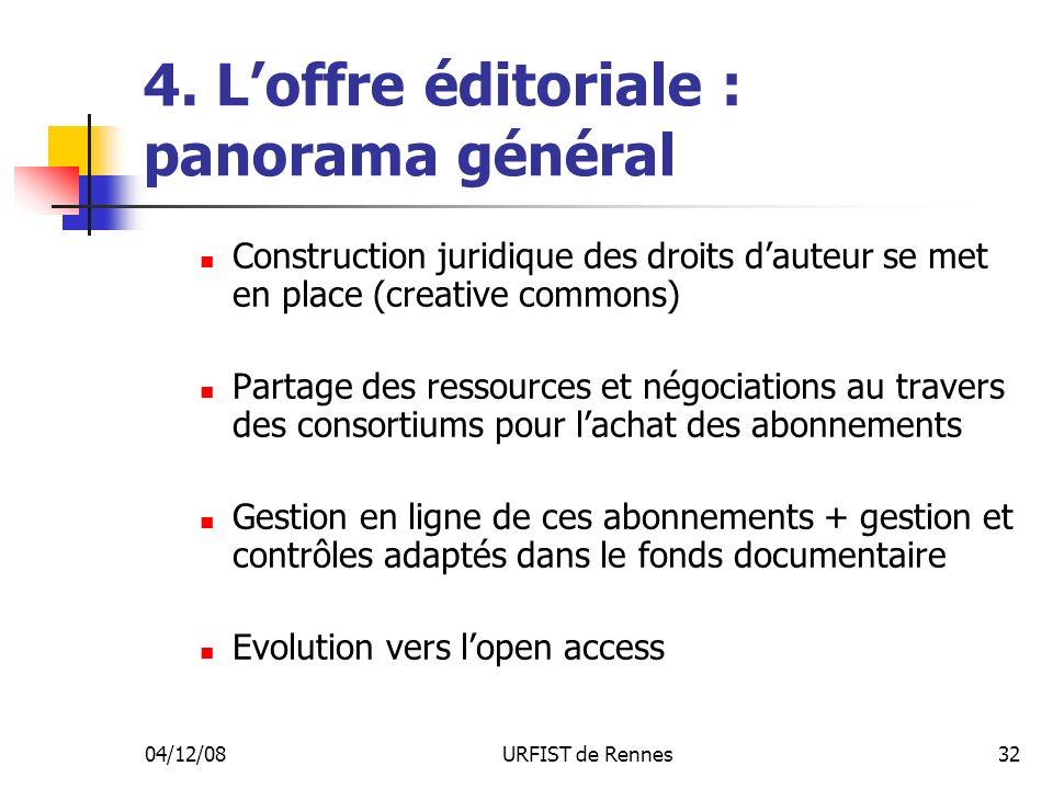 04/12/08URFIST de Rennes32 4. Loffre éditoriale : panorama général Construction juridique des droits dauteur se met en place (creative commons) Partag