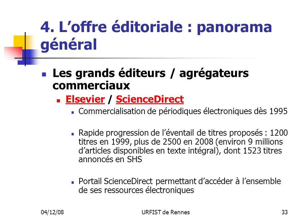 04/12/08URFIST de Rennes33 4. Loffre éditoriale : panorama général Les grands éditeurs / agrégateurs commerciaux Elsevier / ScienceDirect ElsevierScie