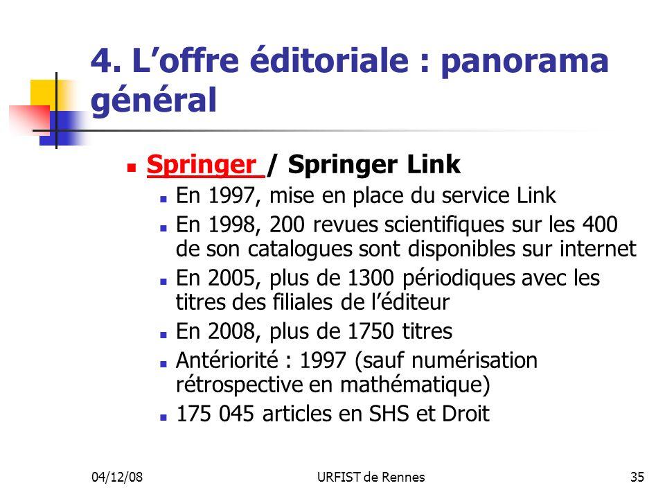04/12/08URFIST de Rennes35 4. Loffre éditoriale : panorama général Springer / Springer Link Springer En 1997, mise en place du service Link En 1998, 2