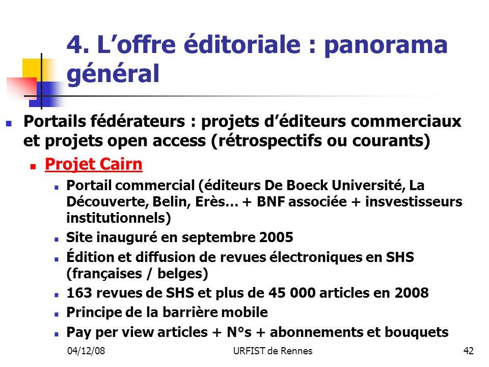 04/12/08URFIST de Rennes42 4. Loffre éditoriale : panorama général Portails fédérateurs : projets déditeurs commerciaux et projets open access (rétros