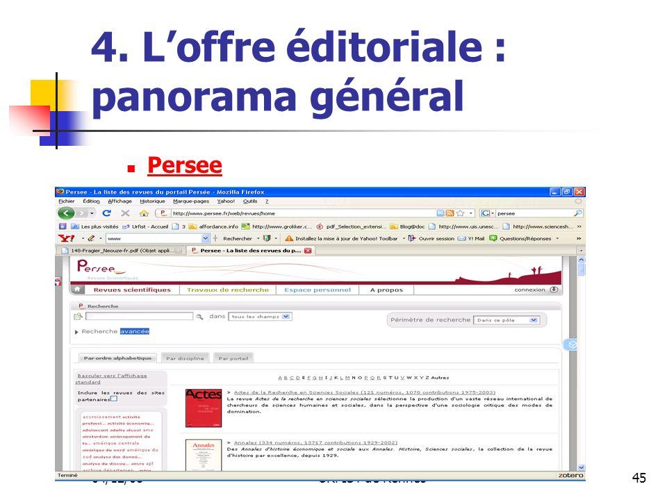 04/12/08URFIST de Rennes45 4. Loffre éditoriale : panorama général Persee
