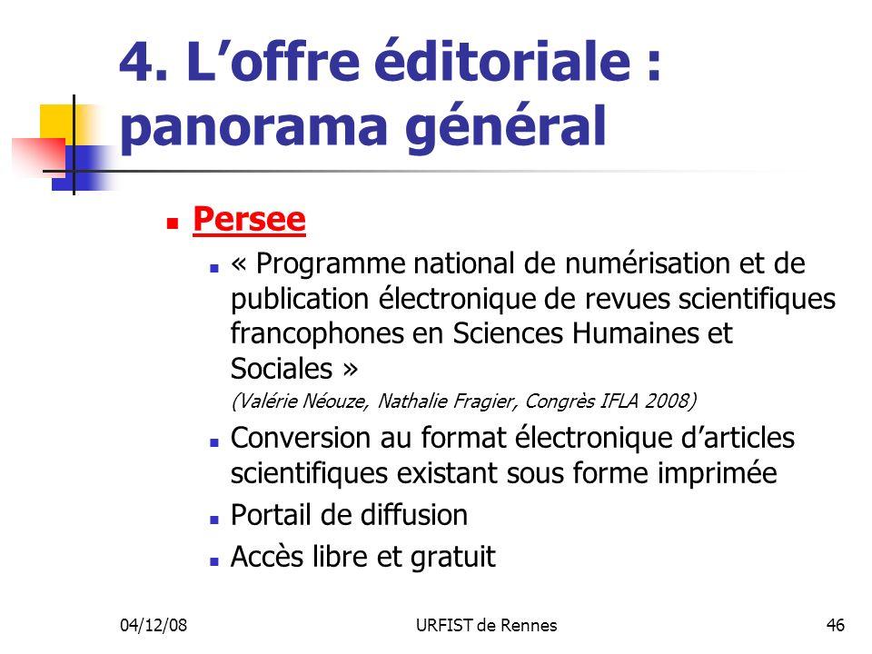 04/12/08URFIST de Rennes46 4. Loffre éditoriale : panorama général Persee « Programme national de numérisation et de publication électronique de revue
