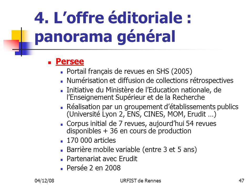 04/12/08URFIST de Rennes47 4. Loffre éditoriale : panorama général Persee Portail français de revues en SHS (2005) Numérisation et diffusion de collec