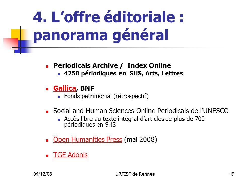 04/12/08URFIST de Rennes49 4. Loffre éditoriale : panorama général Periodicals Archive / Index Online 4250 périodiques en SHS, Arts, Lettres Gallica,