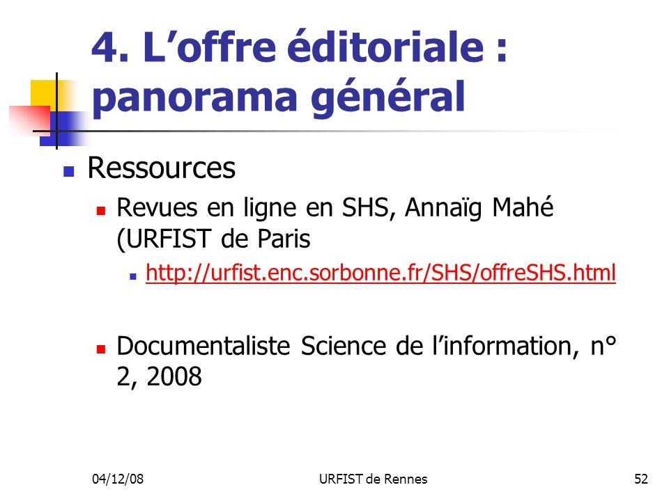 04/12/08URFIST de Rennes52 4. Loffre éditoriale : panorama général Ressources Revues en ligne en SHS, Annaïg Mahé (URFIST de Paris http://urfist.enc.s