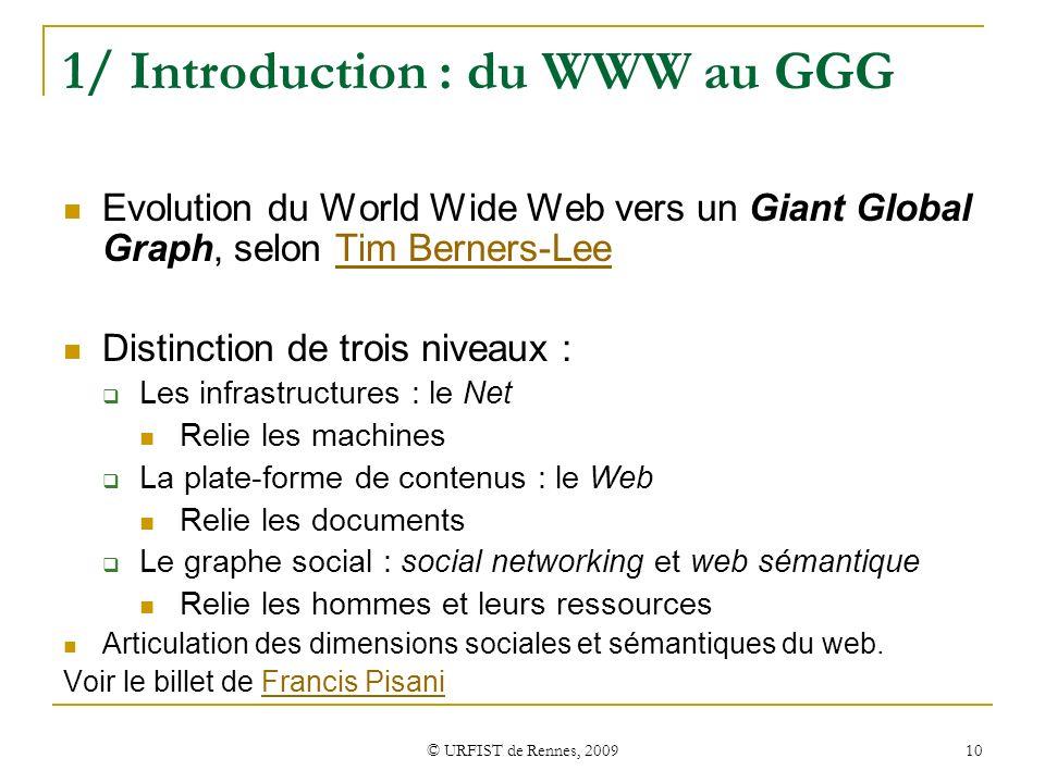 © URFIST de Rennes, 2009 10 1/ Introduction : du WWW au GGG Evolution du World Wide Web vers un Giant Global Graph, selon Tim Berners-LeeTim Berners-L