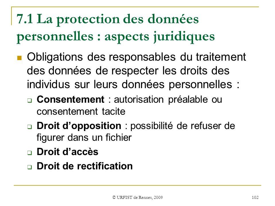 © URFIST de Rennes, 2009 102 7.1 La protection des données personnelles : aspects juridiques Obligations des responsables du traitement des données de