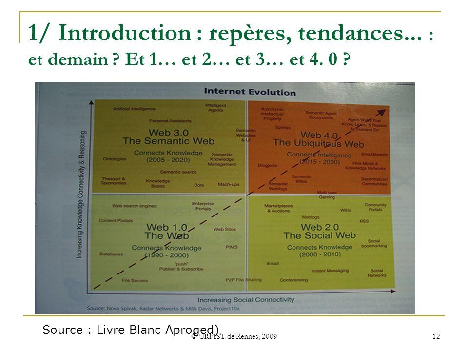 © URFIST de Rennes, 2009 12 1/ Introduction : repères, tendances... : et demain ? Et 1… et 2… et 3… et 4. 0 ? Source : Livre Blanc Aproged)