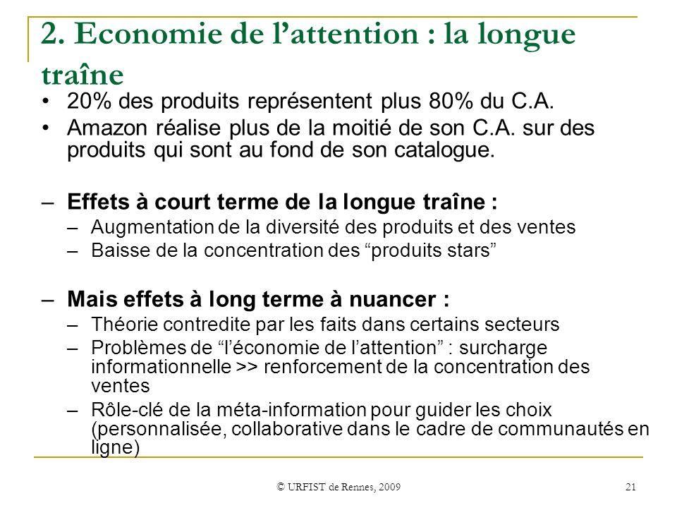 © URFIST de Rennes, 2009 21 2. Economie de lattention : la longue traîne 20% des produits représentent plus 80% du C.A. Amazon réalise plus de la moit