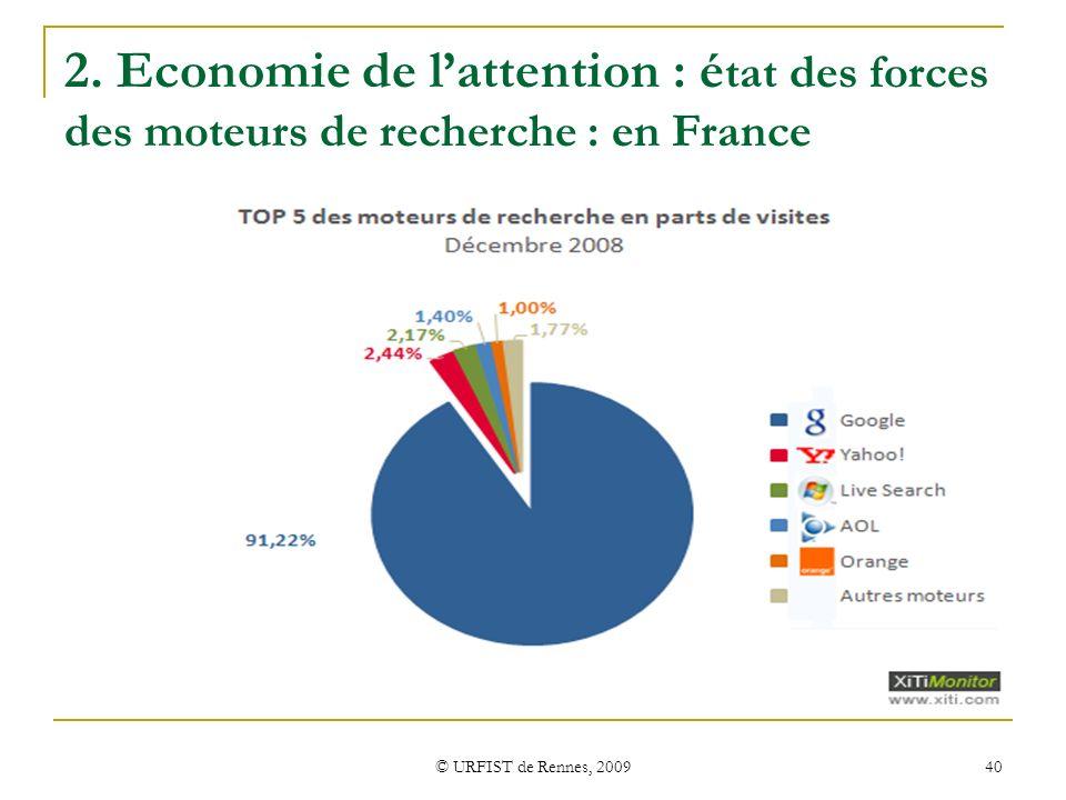 © URFIST de Rennes, 2009 40 2. Economie de lattention : é tat des forces des moteurs de recherche : en France (Xiti)Xiti