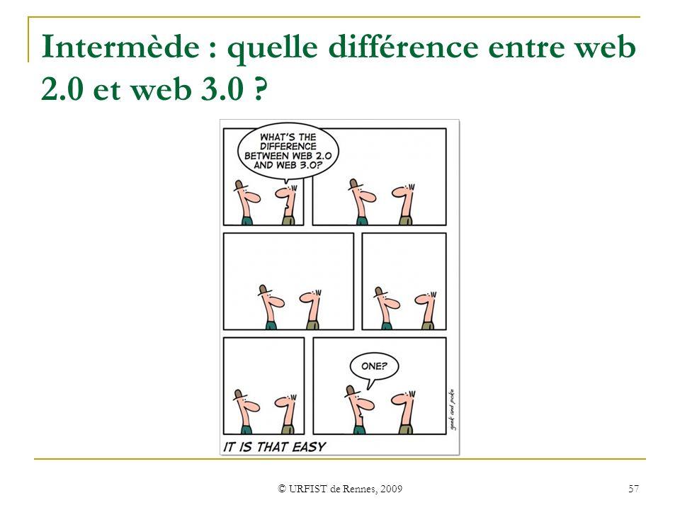 © URFIST de Rennes, 2009 57 Intermède : quelle différence entre web 2.0 et web 3.0 ?