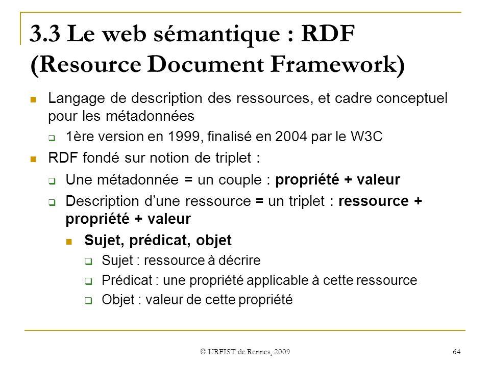 © URFIST de Rennes, 2009 64 3.3 Le web sémantique : RDF (Resource Document Framework) Langage de description des ressources, et cadre conceptuel pour