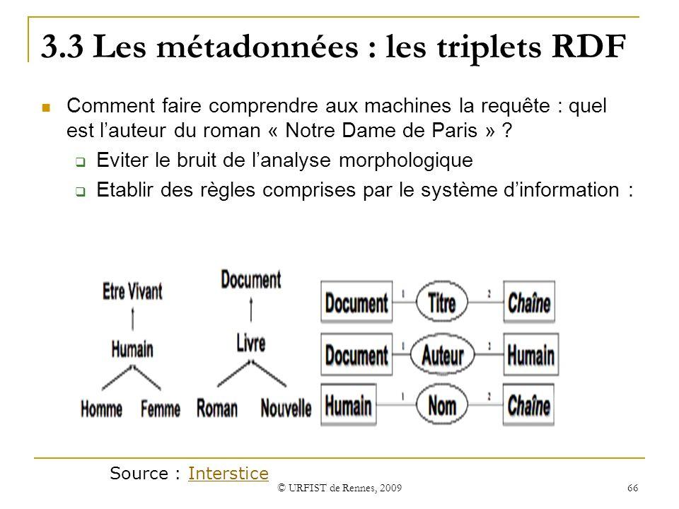 © URFIST de Rennes, 2009 66 3.3 Les métadonnées : les triplets RDF Comment faire comprendre aux machines la requête : quel est lauteur du roman « Notr