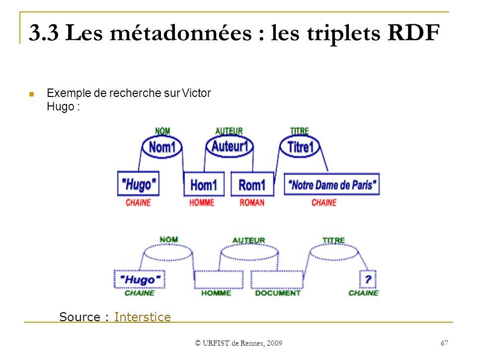 © URFIST de Rennes, 2009 67 3.3 Les métadonnées : les triplets RDF Exemple de recherche sur Victor Hugo : Source : IntersticeInterstice