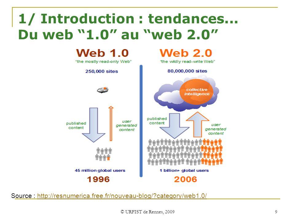 © URFIST de Rennes, 2009 9 1/ Introduction : tendances... Du web 1.0 au web 2.0 Source : http://resnumerica.free.fr/nouveau-blog/?category/web1.0/http