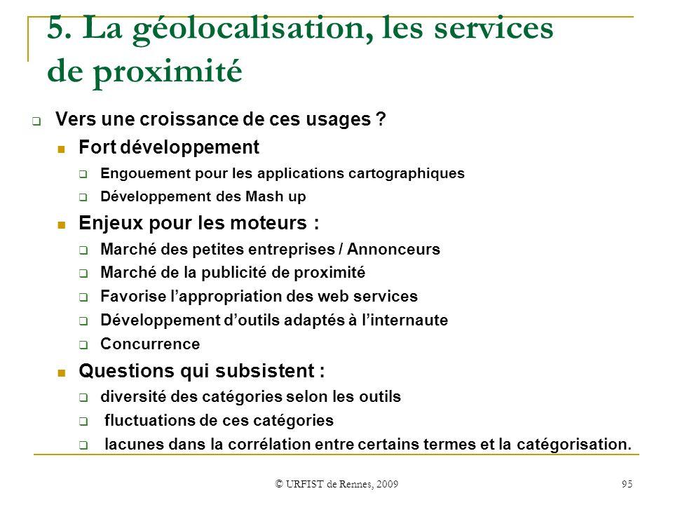 © URFIST de Rennes, 2009 95 5. La géolocalisation, les services de proximité Vers une croissance de ces usages ? Fort développement Engouement pour le