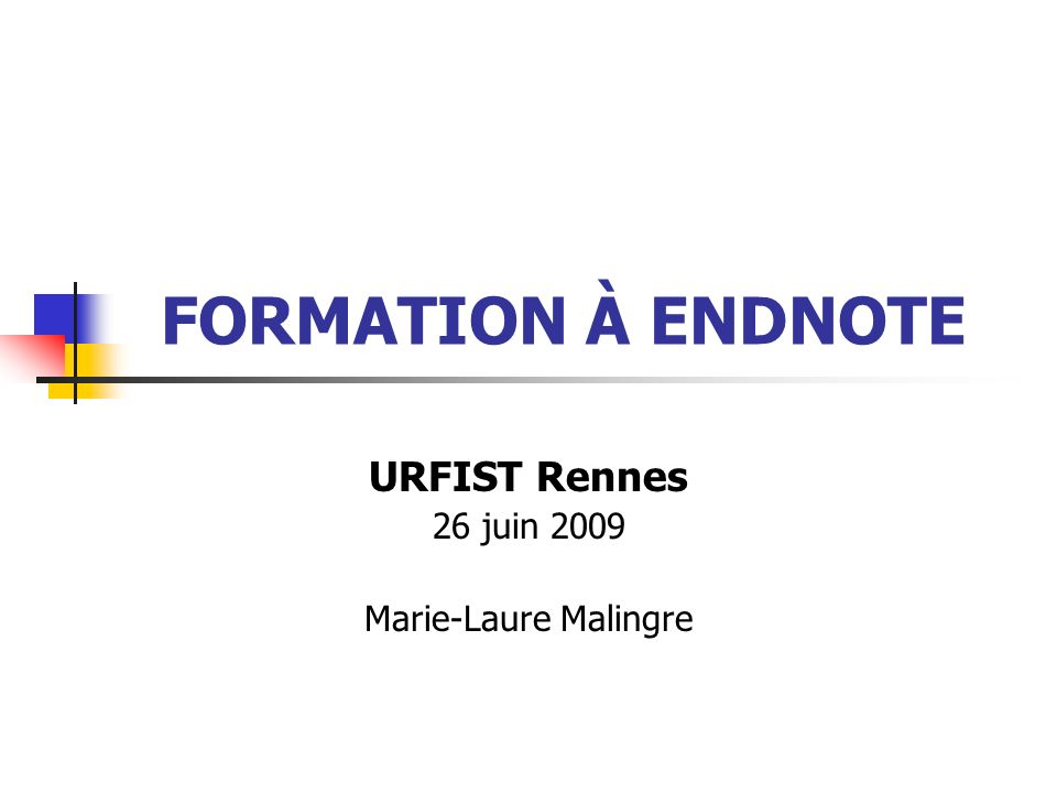 URFIST Rennes52 Formation à EndNote 3/ Limport de réferences Remise en forme du texte Par exemple : création dun fichier délimité par des tabulations Fichier dont chaque référence est délimitée par un retour chariot et les champs de la référence sont séparés par des tabulations Option dImport = « Tab Delimited »