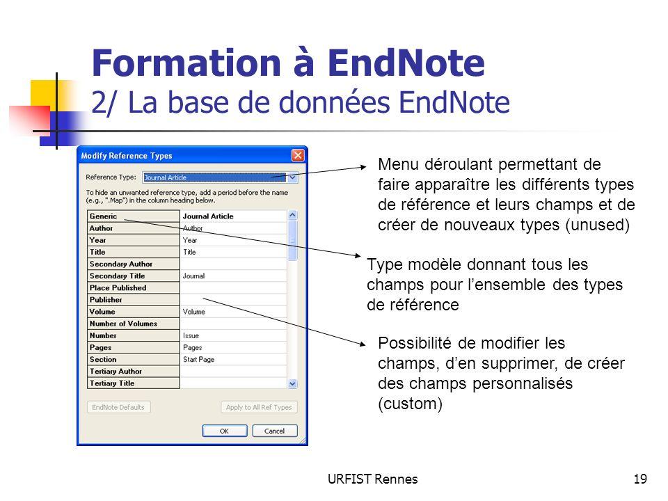 URFIST Rennes19 Formation à EndNote 2/ La base de données EndNote Menu déroulant permettant de faire apparaître les différents types de référence et leurs champs et de créer de nouveaux types (unused) Type modèle donnant tous les champs pour lensemble des types de référence Possibilité de modifier les champs, den supprimer, de créer des champs personnalisés (custom)