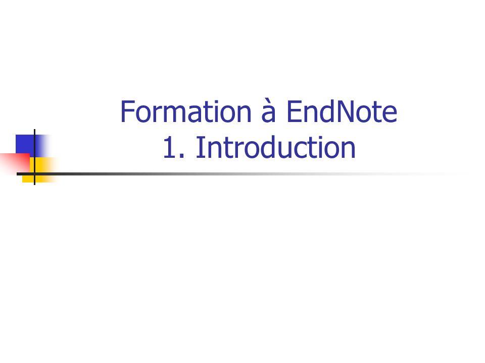 URFIST Rennes104 Formation à EndNote 7/ Lutilisation dEndNote avec Word Word est doté doutils permettant le CWYW : voir le Menu Outils > EndNote + Go To EndNote Find Citation(s) Format Bibliography Insert Selected Citation(s) Edit Citation(s) Insert Note Edit Library Reference(s) Unformat Citation(s) Remove Field Codes Export Traveling Library Find Figure(s) Generate Figure List Cite While You Write Preferences