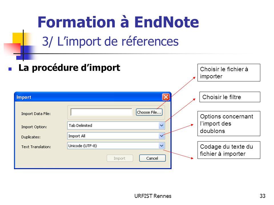 URFIST Rennes33 Formation à EndNote 3/ Limport de réferences La procédure dimport Choisir le fichier à importer Choisir le filtre Options concernant l