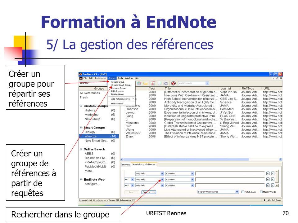 URFIST Rennes70 Formation à EndNote 5/ La gestion des références Créer un groupe pour répartir ses références Créer un groupe de références à partir d