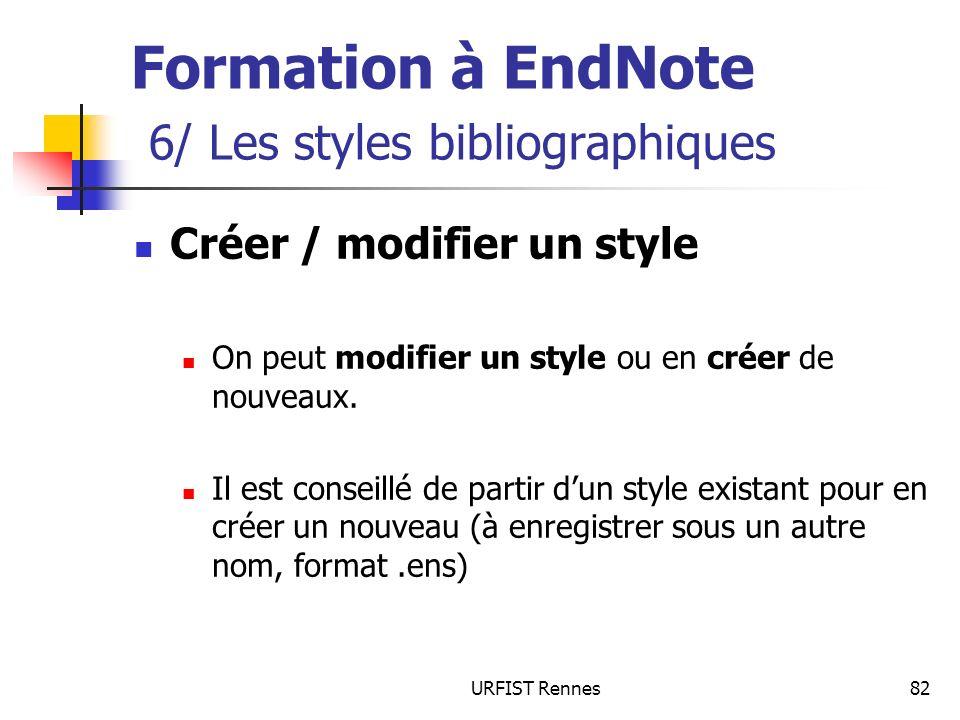 URFIST Rennes82 Créer / modifier un style On peut modifier un style ou en créer de nouveaux. Il est conseillé de partir dun style existant pour en cré