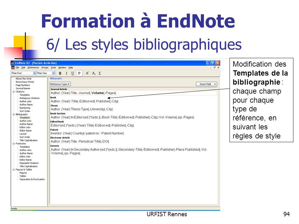 URFIST Rennes94 Formation à EndNote 6/ Les styles bibliographiques Modification des Templates de la bibliographie : chaque champ pour chaque type de référence, en suivant les règles de style