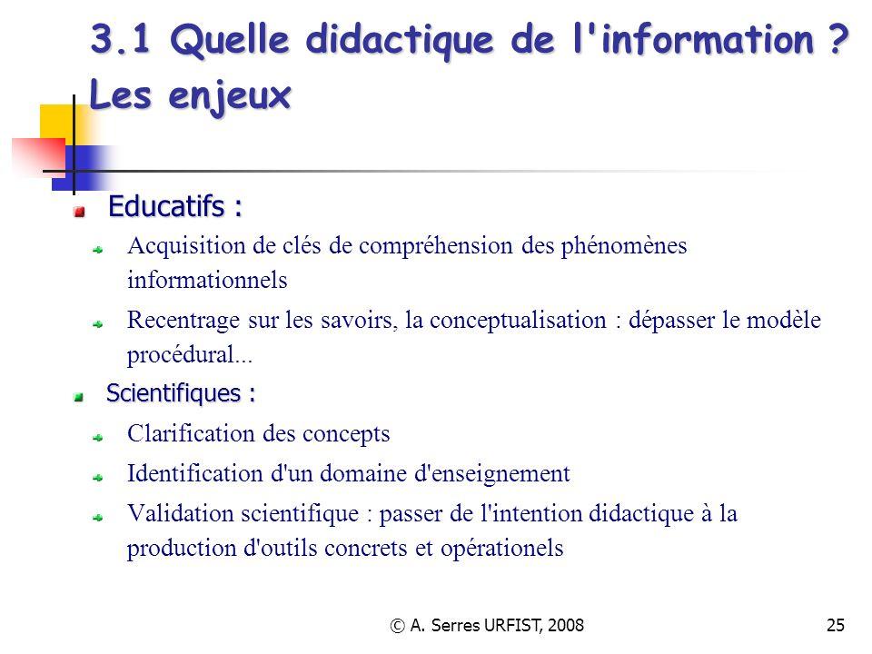 © A. Serres URFIST, 200825 3.1 Quelle didactique de l'information ? Les enjeux Educatifs : Acquisition de clés de compréhension des phénomènes informa