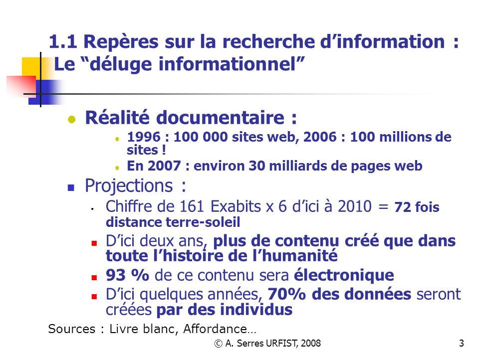 © A. Serres URFIST, 20083 1.1 Repères sur la recherche dinformation : Le déluge informationnel Réalité documentaire : 1996 : 100 000 sites web, 2006 :