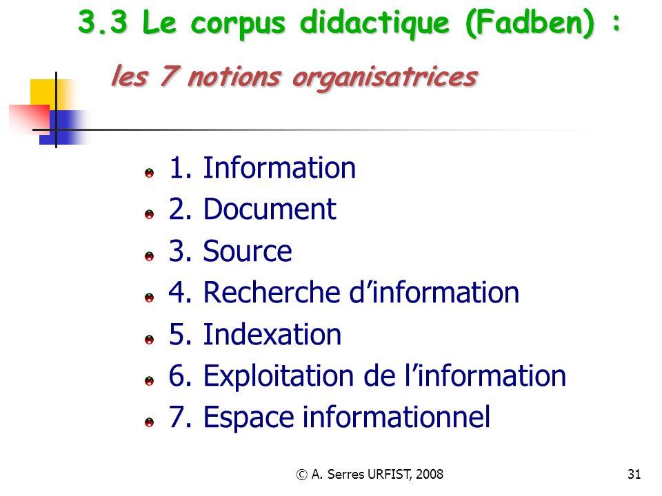 © A. Serres URFIST, 200831 3.3 Le corpus didactique (Fadben) : les 7 notions organisatrices 1. Information 2. Document 3. Source 4. Recherche dinforma