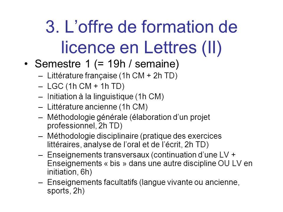 3. Loffre de formation de licence en Lettres (II) Semestre 1 (= 19h / semaine) –Littérature française (1h CM + 2h TD) –LGC (1h CM + 1h TD) –Initiation