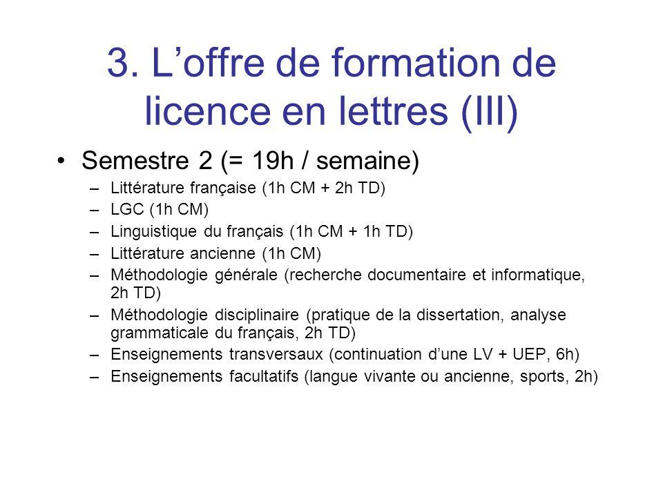 3. Loffre de formation de licence en lettres (III) Semestre 2 (= 19h / semaine) –Littérature française (1h CM + 2h TD) –LGC (1h CM) –Linguistique du f