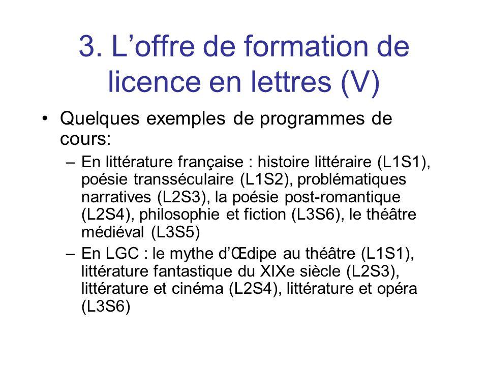3. Loffre de formation de licence en lettres (V) Quelques exemples de programmes de cours: –En littérature française : histoire littéraire (L1S1), poé