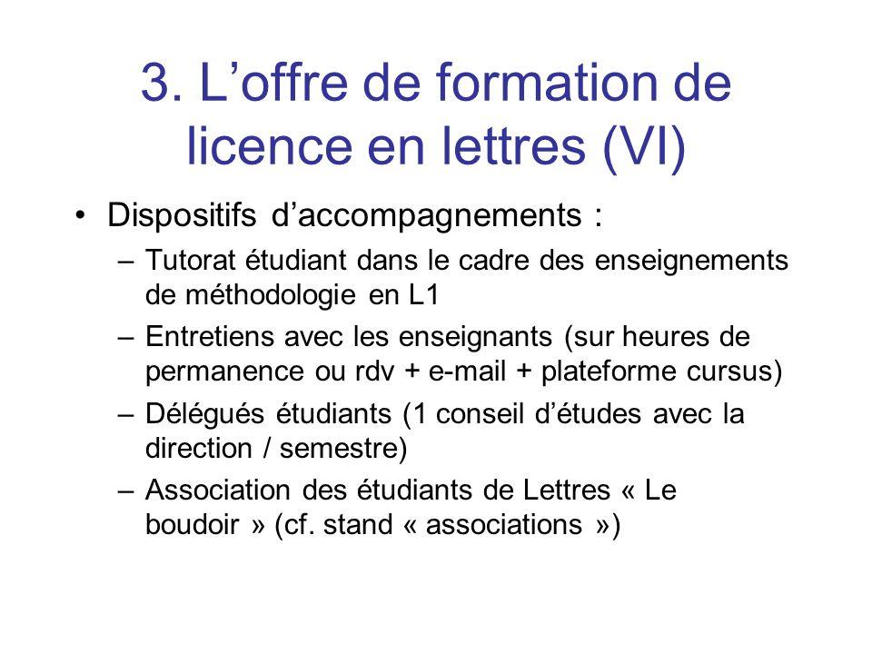 3. Loffre de formation de licence en lettres (VI) Dispositifs daccompagnements : –Tutorat étudiant dans le cadre des enseignements de méthodologie en