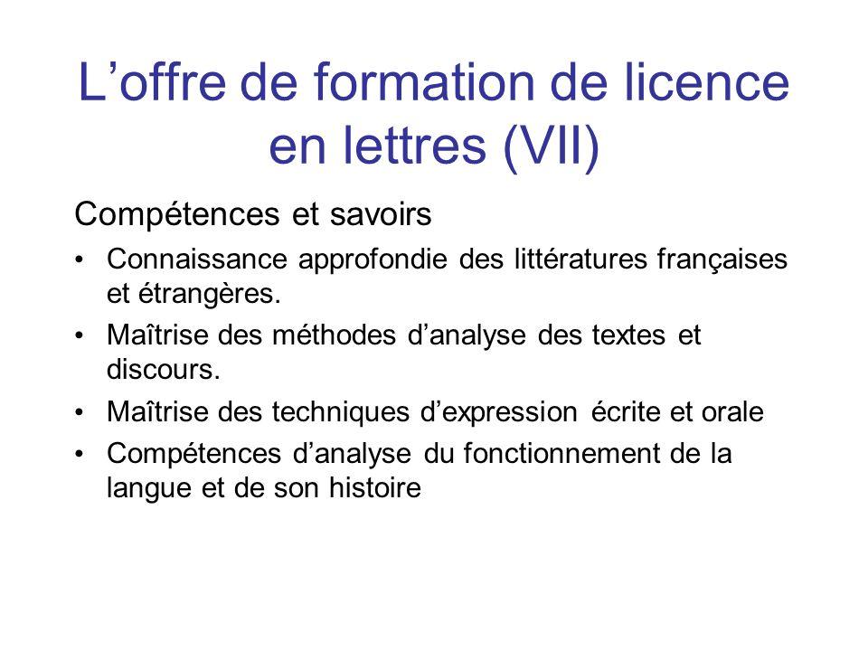 Loffre de formation de licence en lettres (VII) Compétences et savoirs Connaissance approfondie des littératures françaises et étrangères. Maîtrise de