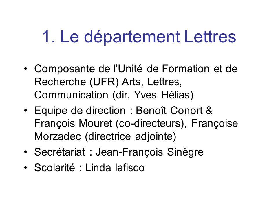 1. Le département Lettres Composante de lUnité de Formation et de Recherche (UFR) Arts, Lettres, Communication (dir. Yves Hélias) Equipe de direction