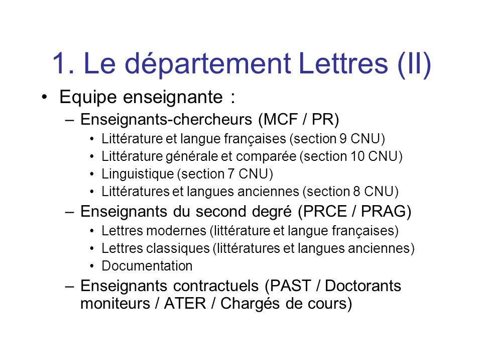 1. Le département Lettres (II) Equipe enseignante : –Enseignants-chercheurs (MCF / PR) Littérature et langue françaises (section 9 CNU) Littérature gé