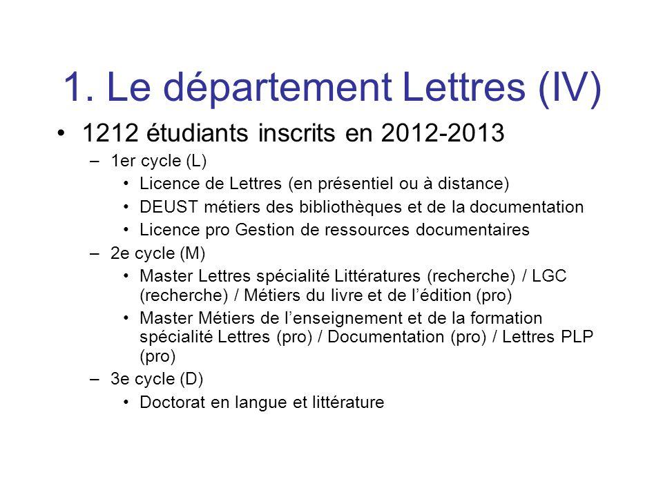 1. Le département Lettres (IV) 1212 étudiants inscrits en 2012-2013 –1er cycle (L) Licence de Lettres (en présentiel ou à distance) DEUST métiers des