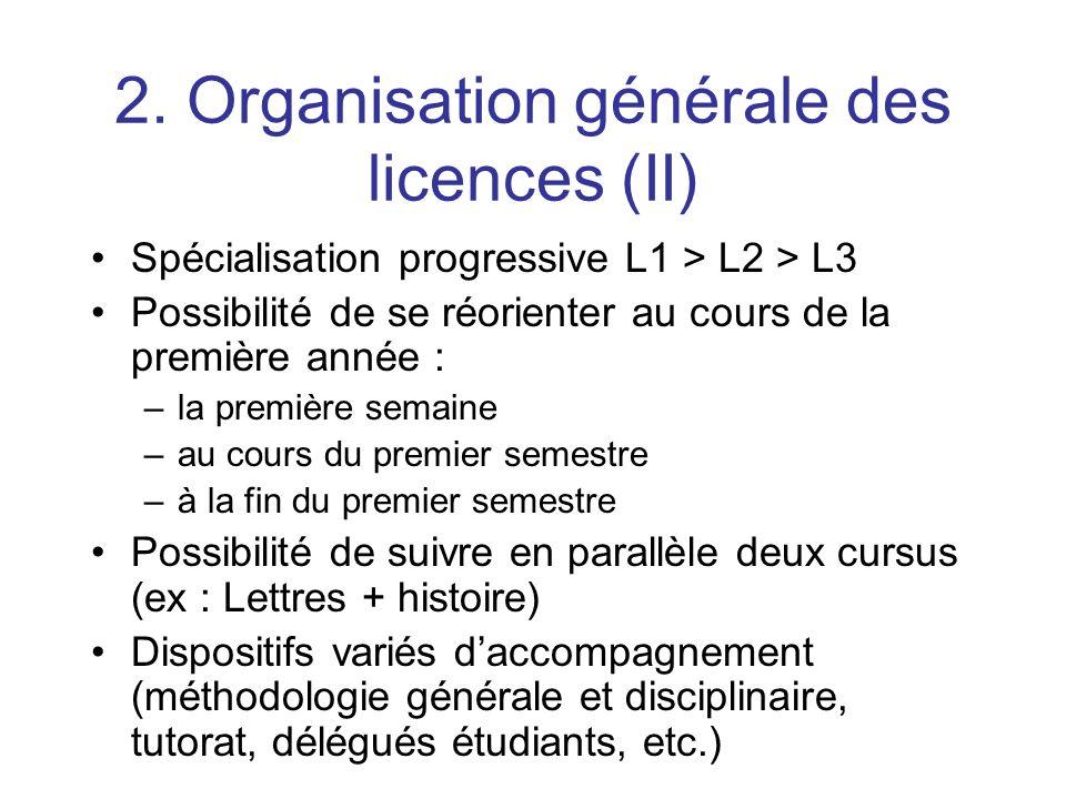 2. Organisation générale des licences (II) Spécialisation progressive L1 > L2 > L3 Possibilité de se réorienter au cours de la première année : –la pr