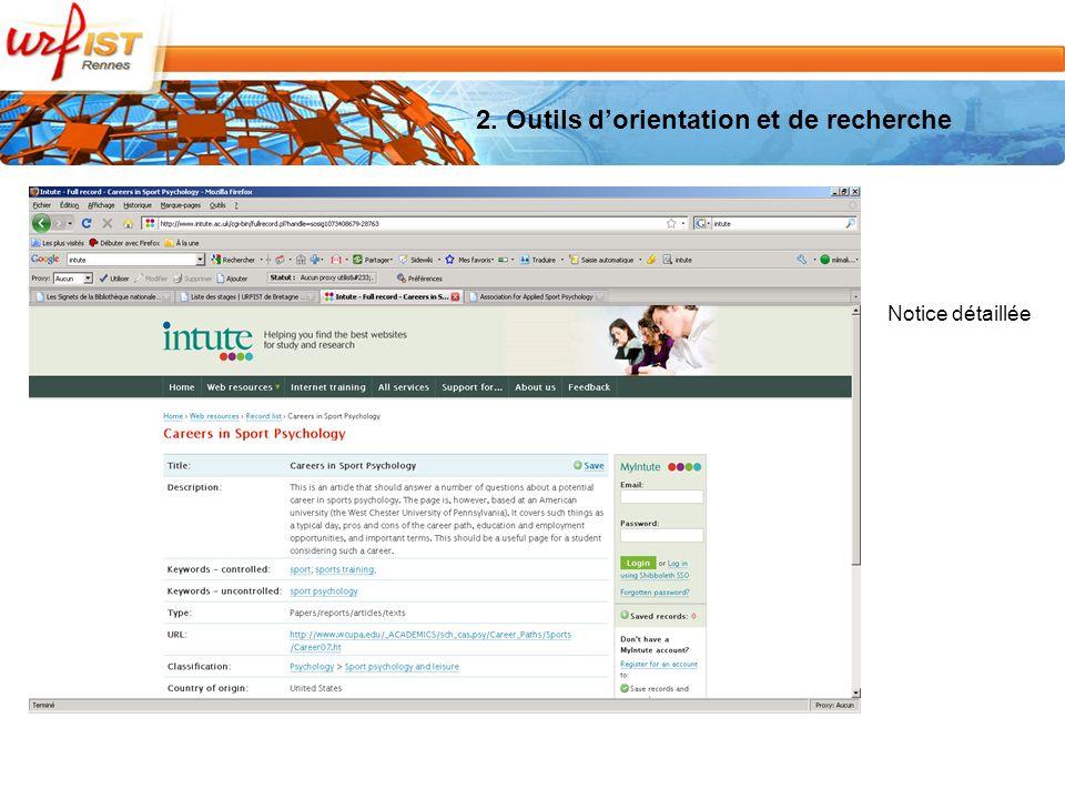 2. Outils dorientation et de recherche Notice détaillée